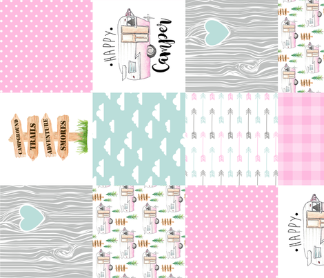 Happy Camper//Pink - Wholecloth Cheater Quilt - Rotated fabric by longdogcustomdesigns on Spoonflower - custom fabric