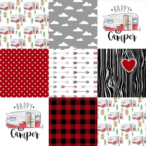 Happy Camper//Red - Wholecloth Cheater Quilt