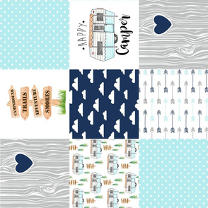 Happy Camper//Aqua - Wholecloth Cheater Quilt - Rotated