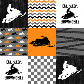 Eat Sleep Snowmobile//Orange - Wholecloth Cheater Quilt