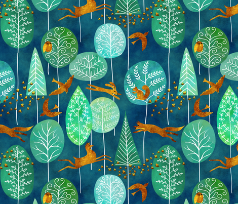 golden denizens of an emerald forest fabric by vo_aka_virginiao on Spoonflower - custom fabric