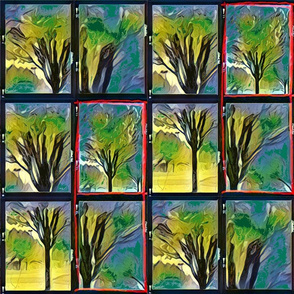 Emerald Forest Watercolor tree blk outlined tile 12-patch