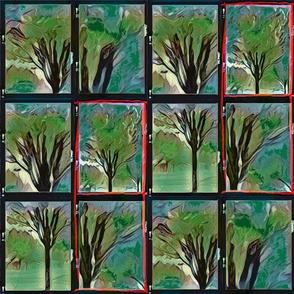 Emerald Forest Watercolor tree blk outlined tile 12-patch emerald 2adj