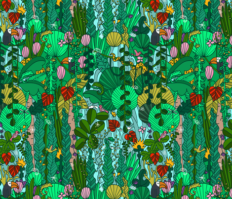 P #91 Tropical Emerald Forest  fabric by irenesilvino on Spoonflower - custom fabric