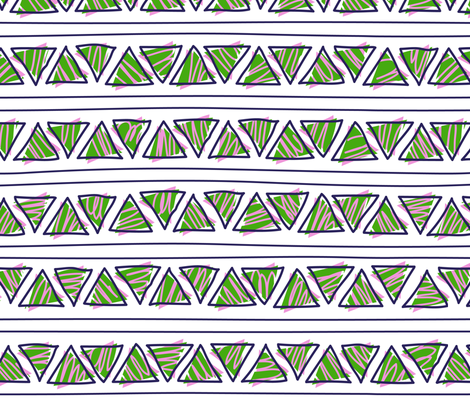green and violet doodle ethnic lines and triangles fabric by klivenkova on Spoonflower - custom fabric