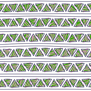green and violet doodle ethnic lines and triangles
