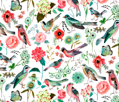 Birds & Flowers  // pink & green floral girls room nursery decor little girls fabric fabric by caroline_bonne_muller on Spoonflower - custom fabric
