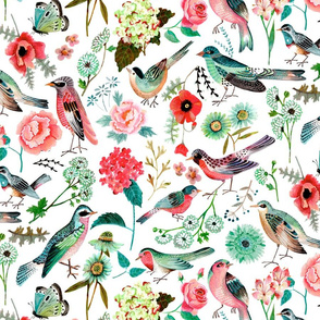 Botanical Green & Pink Modern Birds Flower Floral