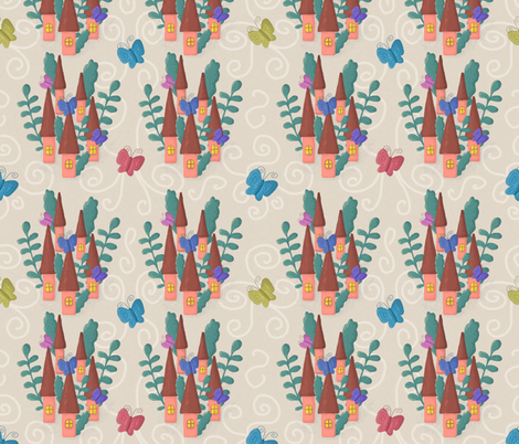 Fairy houses and colorful butterflies fabric by katrinkastem on Spoonflower - custom fabric