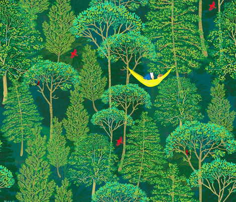 Lost in a Good Book in an emerald forest fabric by honoluludesign on Spoonflower - custom fabric