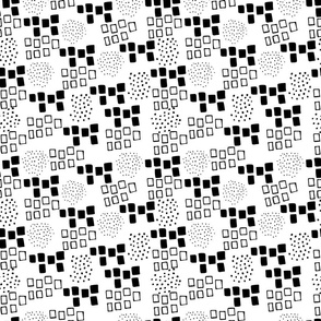 Hand drawn design with squares and dots