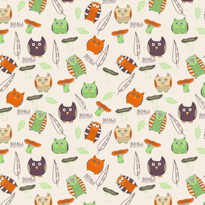 Funny owls in forest
