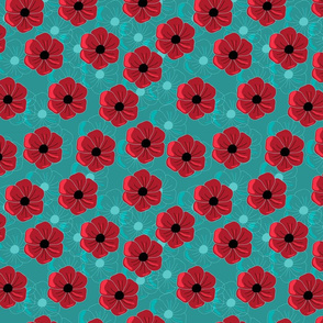 Red poppies on turquoise back