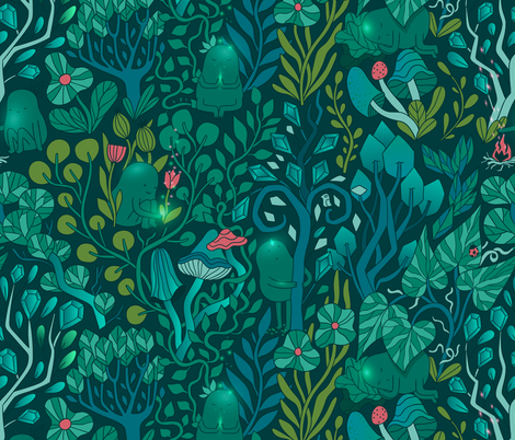 Emerald forest keepers. Fairy woodland creatures. fabric by kostolom3000 on Spoonflower - custom fabric