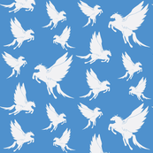 Flock of Pegasus on Blue