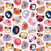 Cute colorful puppies
