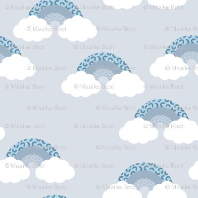 Memphis pop summer rainbow sky and clouds miami blue boys