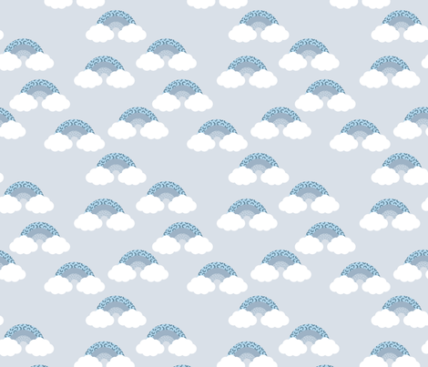Memphis pop summer rainbow sky and clouds miami blue boys fabric by littlesmilemakers on Spoonflower - custom fabric