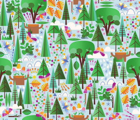 Into the Emerald Forest fabric by oliveandruby on Spoonflower - custom fabric