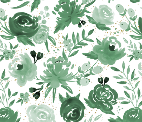 Emerald Forest Floral w Gold Glitter - Monochrome Watercolor Flowers fabric by sweeterthanhoney on Spoonflower - custom fabric