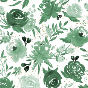 Emerald Forest Floral w Gold Glitter - Monochrome Watercolor Flowers