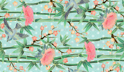 Bamboo, Birds and Blossoms on soft blue rotated