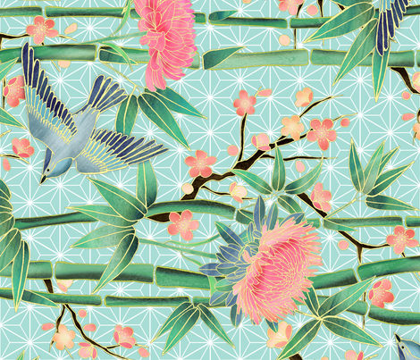 Bamboo, Birds and Blossoms on soft blue rotated fabric by micklyn on Spoonflower - custom fabric