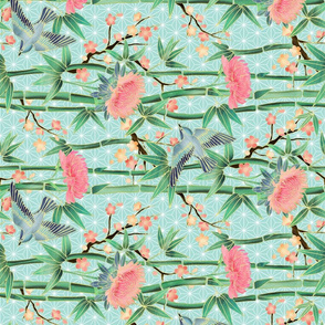 Bamboo, Birds and Blossoms on soft blue - small rotated