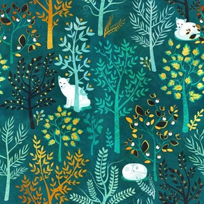 White fox resting on an emerald green forrest // small scale