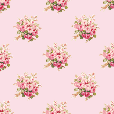 "Jane's Rose Bouquet sorbet 2"" resized fabric by lilyoake on Spoonflower - custom fabric"