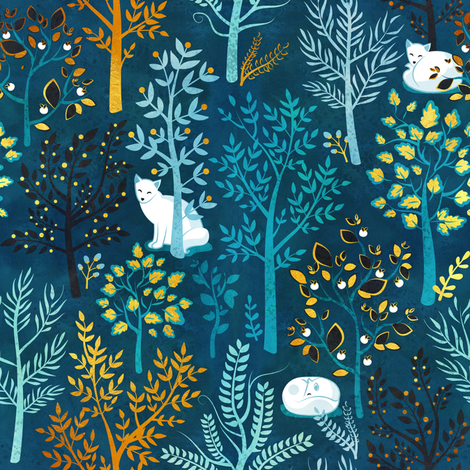 White fox resting on a blue forrest fabric by selmacardoso on Spoonflower - custom fabric
