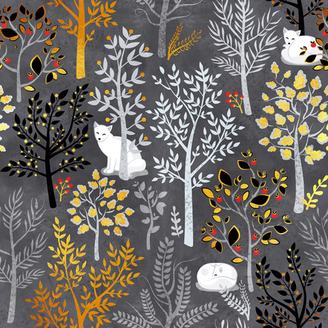White fox resting on a winter grey forrest // small scale fabric by selmacardoso on Spoonflower - custom fabric