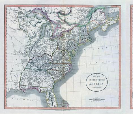 East Coast Map USA wallpaper - aftermyart - Spoonflower