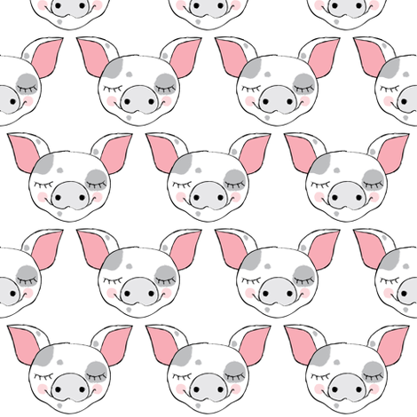 spotted pig faces on white fabric by lilcubby on Spoonflower - custom fabric