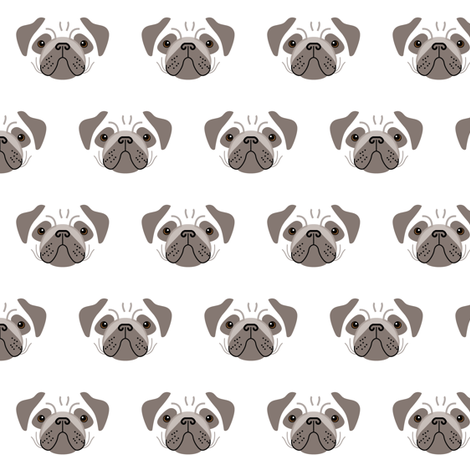 pug-dark brown-and-white fabric by lilcubby on Spoonflower - custom fabric