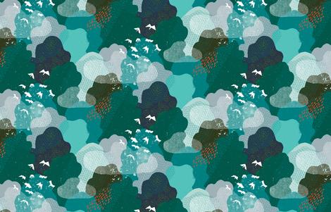 M+M Emerald Forest Bird's Eye View by Friztin fabric by friztin on Spoonflower - custom fabric
