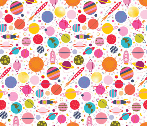 Rocket Science - White fabric by katerhees on Spoonflower - custom fabric
