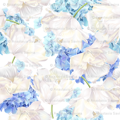 Hydrangea tulip blue pattern