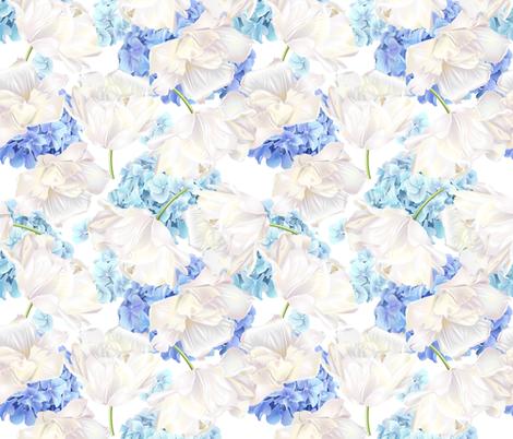 Hydrangea tulip blue pattern  fabric by purple-bird on Spoonflower - custom fabric