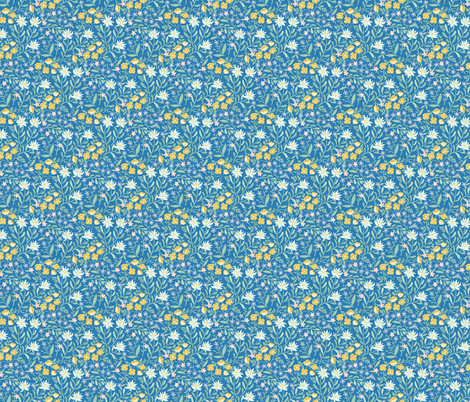 Altai herbs in blue fabric by solnca_lych on Spoonflower - custom fabric