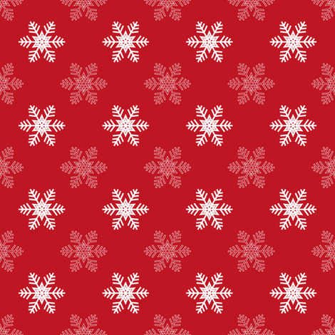 Snowflake Pattern | Red and White fabric by eclectic_at_heart on Spoonflower - custom fabric