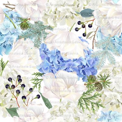 Hydrangea, tulip & conifer branches