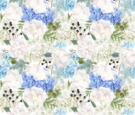 Hydrangea, tulip & conifer branches fabric by purple-bird on Spoonflower - custom fabric