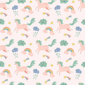 flying unicorn and funny clouds in pink