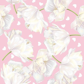 White tulips & hearts