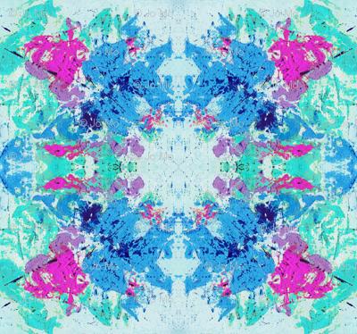 Boho Hippie Paint Splatter Teal Blue