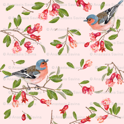 Pomegranate flowers & birds