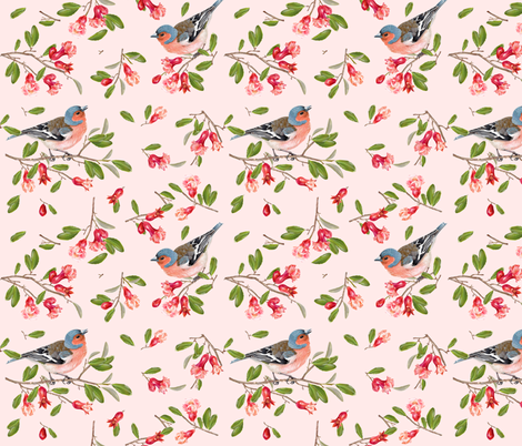 Pomegranate flowers & birds fabric by purple-bird on Spoonflower - custom fabric