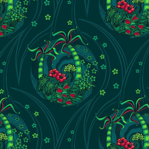 ★ TROPICAL FOREST - Venus Fly Trap, Monstera, Plumeria, Hibiscus and Palm Trees ★ Teal, Lime Green & Red - Large Scale / Collection : Hawaiian Trip - Plumeria & Tiki for Aloha Shirt Print