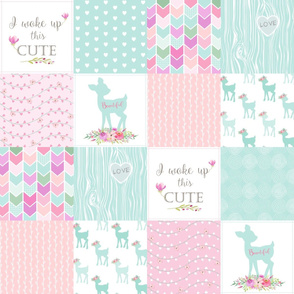 Baby Deer Patchwork – I Woke Up This Cute – Mint Pink Lilac Cheater Quilt Floral Wholecloth